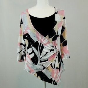 Dressbarn Asymmetric Stretchy Blouse M